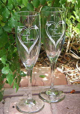 Personalized Hearts & Butterfly's Toasting Flutes Wedding Champagne Glasses