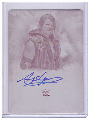 2016 Topps WWE Undisputed Auto A.J. STYLES 1/1 Printing Plate AUTOGRAPH Rare AJ