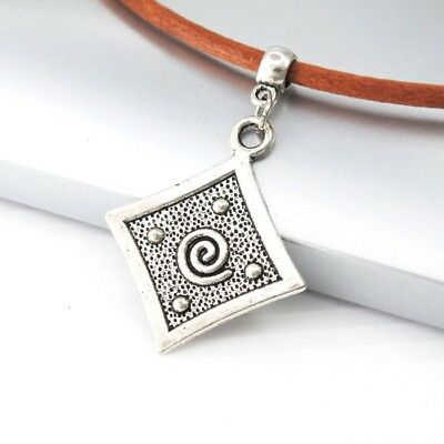 Vintage Silver Alloy Square Spiral Tribal Pendant Brown Leather Surfer Necklace