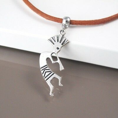 Silver Alloy Native American Kokopell Music Pendant 3mm Brown Leather Necklace
