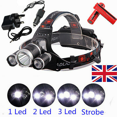 8000LM T6 3x CREE XM-L LED Headlamp Head Torch Rechargeable Outdoor Headlight