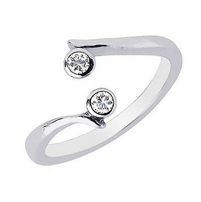 10k White Gold CZ Cubic Zirconia Cross Over Adjustable Ring or Toe Ring