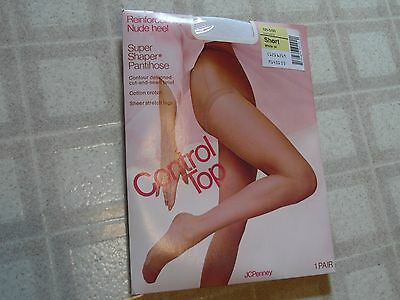 NOS  JC Penney  Control Top Super Shaper Pantihose ~ Short - White
