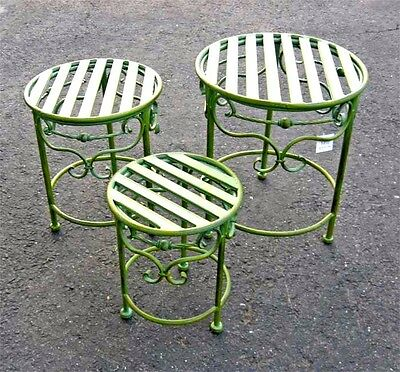 Wrought Iron Plant Stands Set of 3  Antiqued Mint Finish