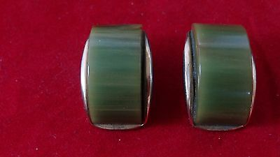 Superb Vintage Art Deco Green Bakelite Clip On Earrings