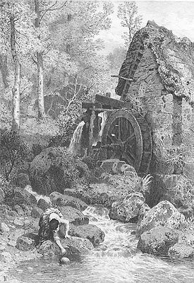 FARM MILL BY RIVER POND IN WOODS FOREST ~ Old 1881 LANDSCAPE Art Print ETCHING