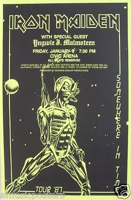 """Iron Maiden / Yngwie J.malmsteen """"somewhere In Time '87 Tour"""" Concert Poster"""