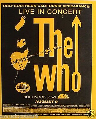 """THE WHO 2002 """"GREATEST HITS TOUR"""" HOLLYWOOD BOWL CONCERT POSTER-Pete With Guitar"""