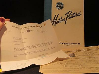General Electric Motion Pictures Lending Catalog Bell Letter & CNR Receipt 1940s