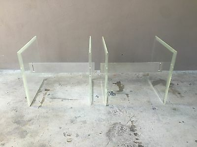 Pair Of Mod 1970'S Slab Lucite End Tables With Aluminum Stretchers - P No Glass