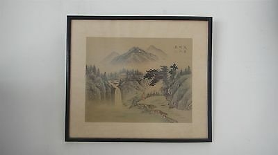 Rare Authentic Antique Original Old Chinese Silk Signed Landscape Painting