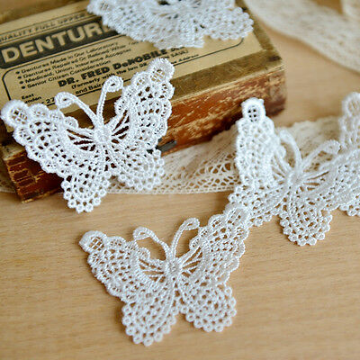 1Yard Embroidered Butterfly Lace Trim Applique Ribbon Wedding Sewing DIY Craft #