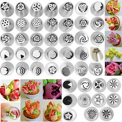 46Pcs Steel Russian Icing Piping Nozzles Mould Cake Decorator Pastry Baking DIY