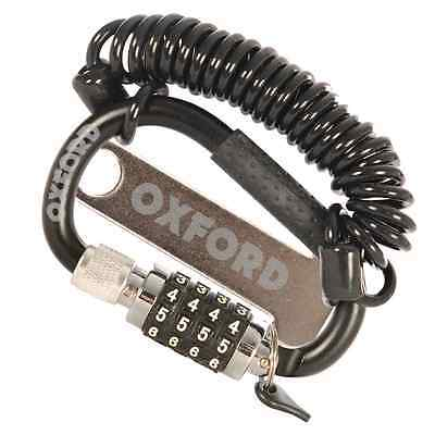 New Oxford Motorcycle Bike Four Digit Combination Carabiner Lid & Helmet Lock
