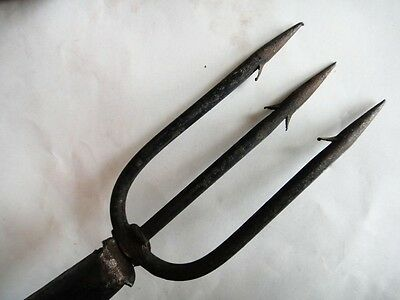 "antique 54""FARM TOOL, WROUGHT IRON 3 PRONG EEL SPEAR WOOD HANDLE,HAY FISH HUNT"
