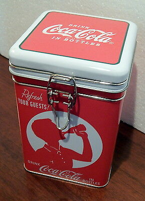 Coca Cola Square Lock Top Tin Person drinkin Coke shadow design for Coffee, Tea+