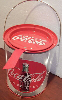 Clear Paint Can Drink Coca Cola Plastic/Metal Canister wire bail handle + NEW