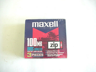 New Maxell 100 MB DOS Formatted Zip Disk 3 Pack 580030.