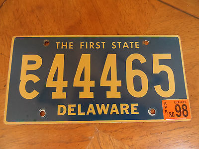 Vintage 1998 Delaware License Plate PC44465 FIRST STATE Tag
