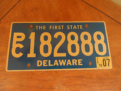 Vintage 2007 Delaware License Plate PC182999 FIRST STATE Tag