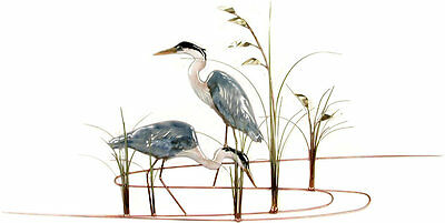 Bovano of Cheshire #W368 Snowy Egret Bird with Shells Metal Wall Art Sculpture