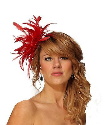 Red Fascinator Hat / choose any other main or/and highlight feather colour
