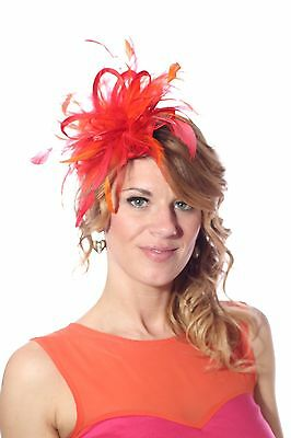 Red & Orange Fascinator Hat/choose any colour feather or satin