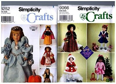 """2 Simplicity OOP PATTERN 8252 & 9066 Doll  Clothes 18"""" Magic Attic American Girl"""