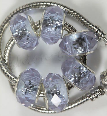 5pc New Crystal Purple High Quality Glass Spacer Big Hole Beads DIY Jewelry 14mm