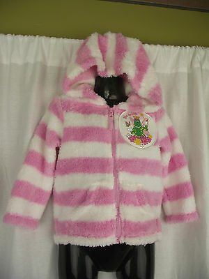BNWT Pink/White Dorothy The Dinosaur Girls Sz 3 Fuzzy Zip Front Hoodie Jacket