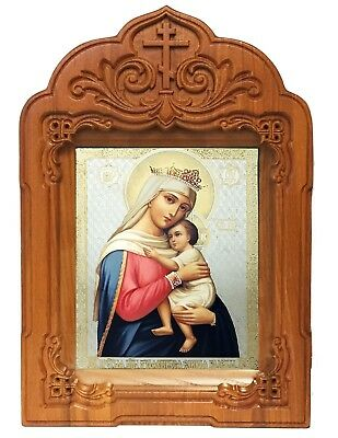 WOW Madonna and Child Mary of Hope Russian Icon In Oak Wooden Shrine With Glass