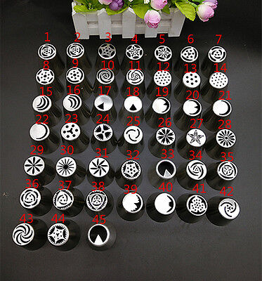 45pcs Lots Russian Tulip Icing Piping Nozzles Cake Decoration Tips Home DIY Tool