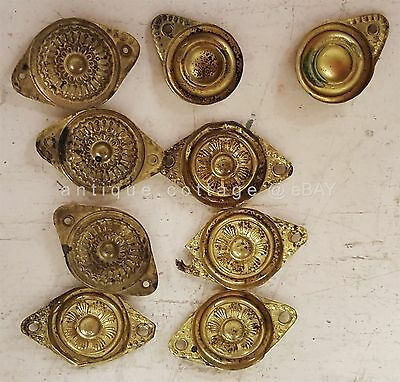 LOT antique victorian 9pc PRESSED BRASS PLATE hardware decor furniture accent