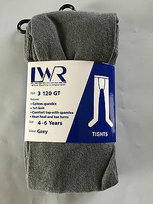 BNWT Girls Age 4-6 Years LW Reid Brand Dark Grey Thick School Lyell Tights