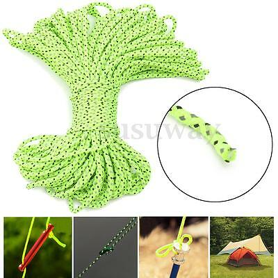 20m 3mm Green Reflective Guyline Tent Rope Guy Line Camping Cord Paracord Cable