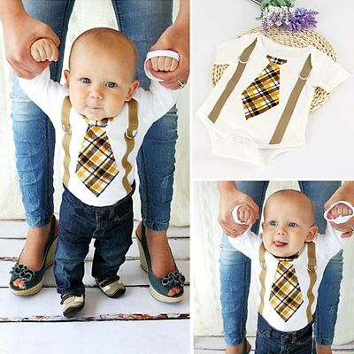 Newborn Infant Kids Baby Boys Gentleman Romper Jumpsuit Bodysuit Clothes Outfits