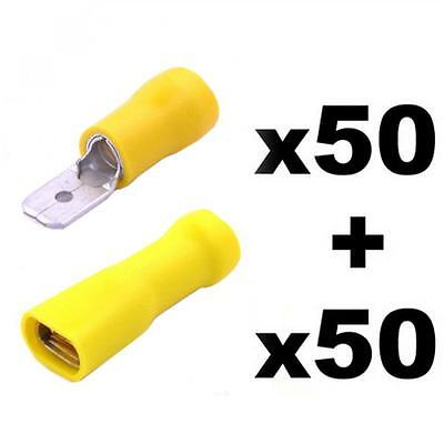 100pcs Electrical Wire Terminals Connectors Male and Female Crimp Spades Yellow