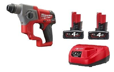 Milwaukee M12CH-402C Fuel Brushless 12v SDS+ Hammer Drill 2x4.0am Bats + Charger