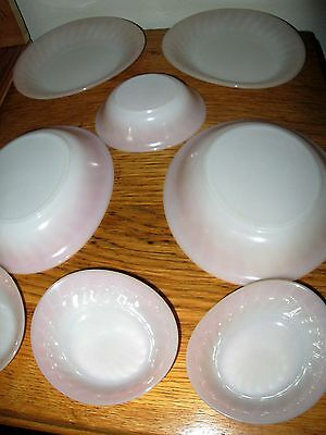 Fire King Ovenware Anchor Hocking Pink Swirl 4 Soup Bowls, 4 berry bowls