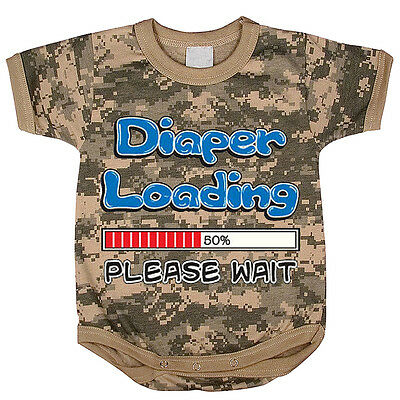 07472877 Diaper Loading funny saying baby tee shirt infant one piece body suit army  camo