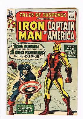 Tales of Suspense # 59 Cap joins Iron Man double feature grade 4.0 scarce book !