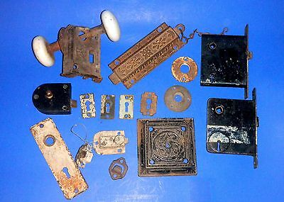 Lot of Antique Door Hardware - Escutcheons, Keyhole Covers, Locks, Knobs +++