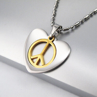 """Silver Gold Love Heart Peace Sign Symbol Pendant 24"""" Chain Surfer Necklace NEW"""