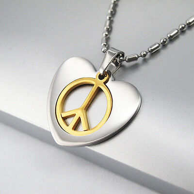 """Silver Gold Stainless Steel Heart Love Peace Pendant 24"""" Chain Surfer Necklace"""