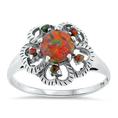 ORANGE LAB FIRE OPAL ANTIQUE VICTORIAN STYLE 925 STERLING SILVER RING Sz 10,#138