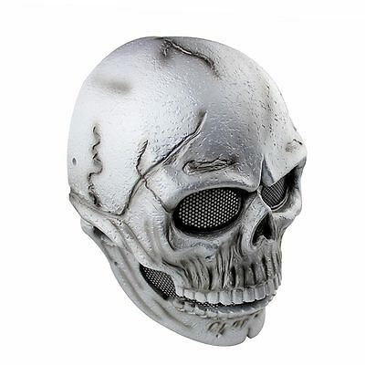 Silver Fabric Resin Skull Full Face Protection Mask For Paintball Airsoft Games