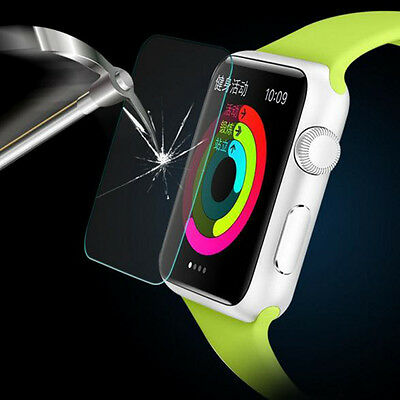 For Apple iwatch 38mm Clear Tempered Reinforced Glass Screen Protector Case