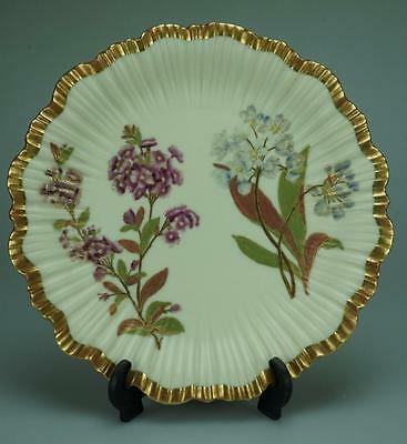 Antique 1889 Royal Worcester Hand Painted Floral Plate KC216