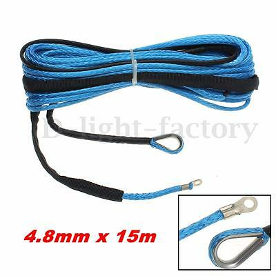 4.8mm x 15m 6400 LBs For SUV ATV Vehicle Synthetic Fiber Winch line Rope Cable