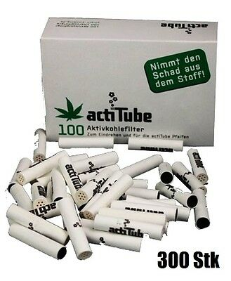300x actiTUBE (ex-TUNE) AKTIVKOHLEFILTER, 8mm, smart smoking,worldwide shipping